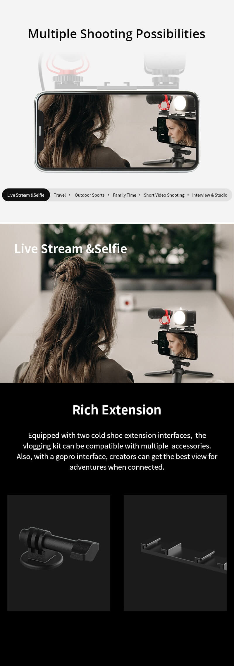 MOZA Mirfak Vlogging Kit Set ชุดอุปกรณ์ถ่ายวีดีโอ ไลฟ์สด Live Vlog Youtuber 9