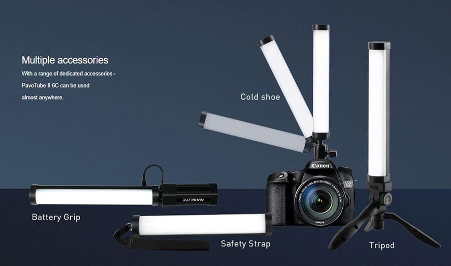 Nanlite-PavoTube-II-6C-multiple-accessories