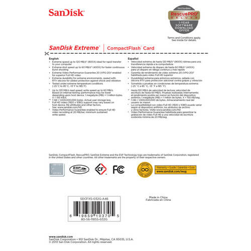 SanDisk 32 GB Extreme CompactFlash Memory Card 4