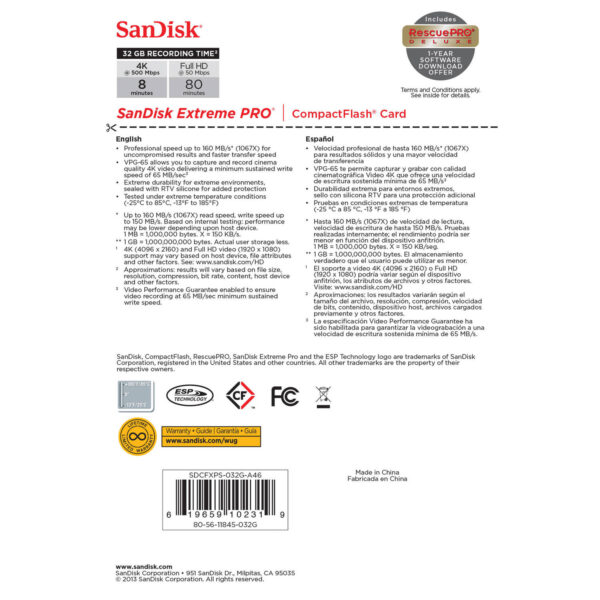 SanDisk 32GB Extreme Pro CompactFlash Memory Card4