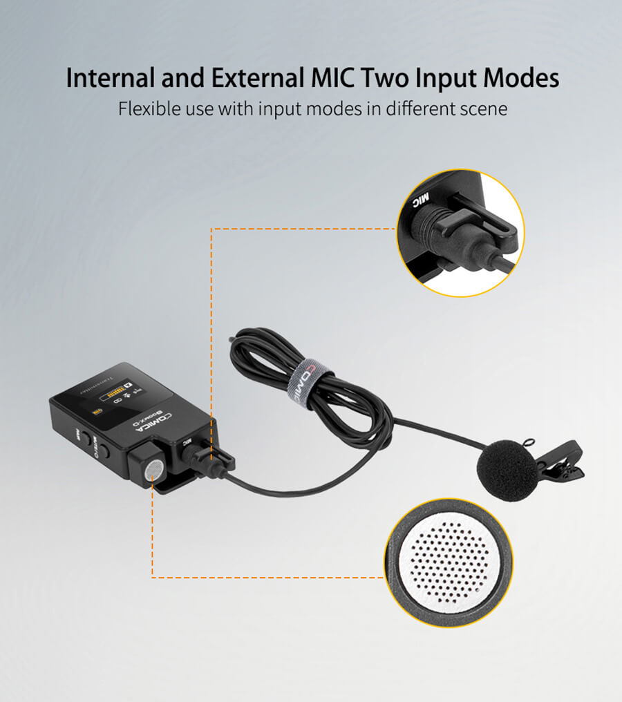 comica-boom-x-ไมค์ไวเลส_Internal-and-External-Mic-Two-Input-Mode