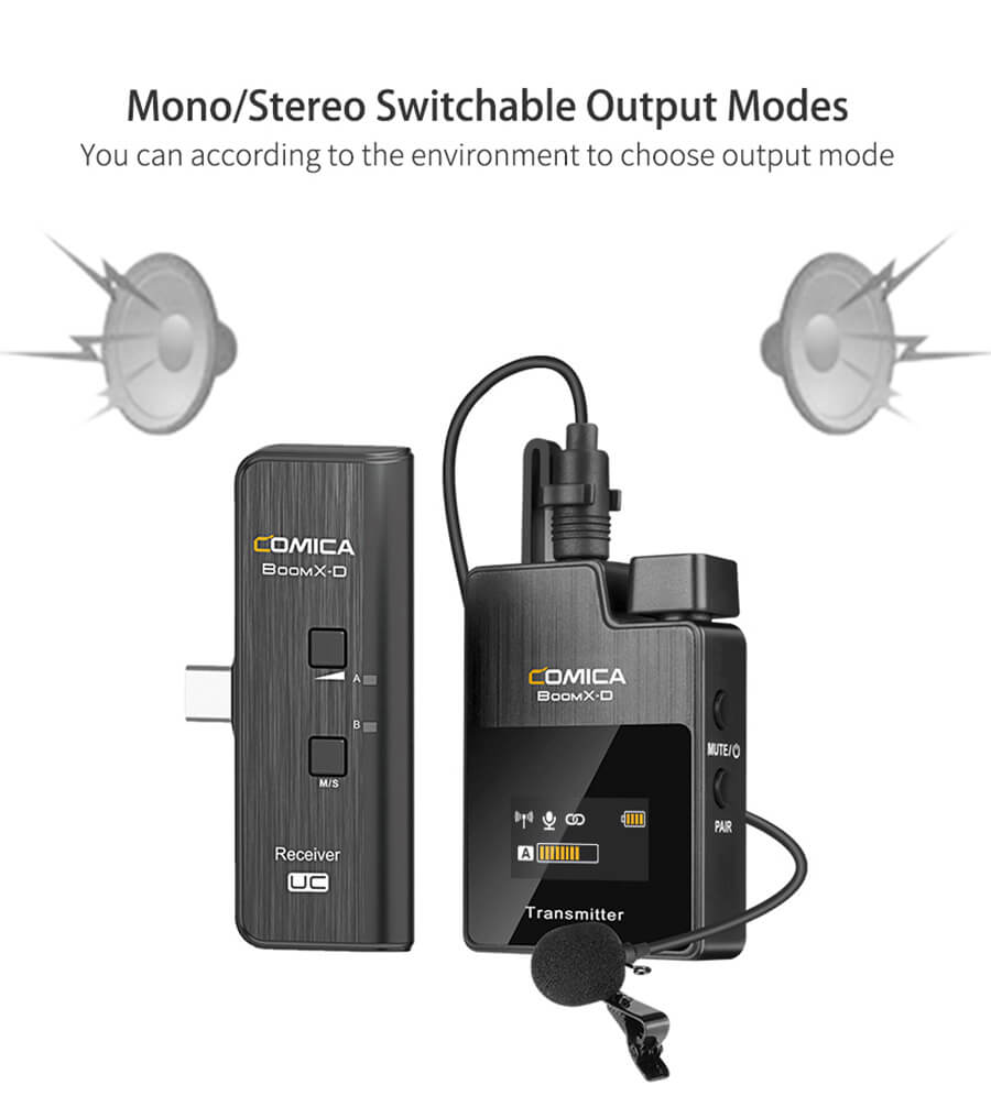 comica-boom-x-ไมค์ไวเลส_Mono-and-Stereo-Switchable-Output-Mode