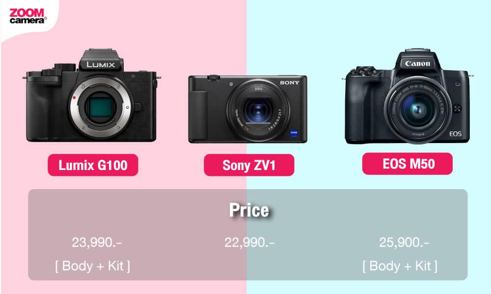 เปรียบเทียบ Panasonic Lumix G100 vs Sony ZV1 vs EOS M50 ราคา Lumix G100