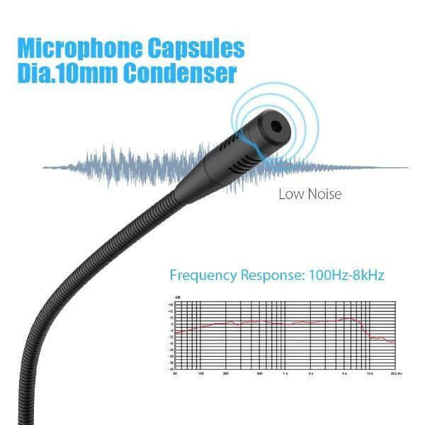 Transducer Type: Electret Condenser, 10mm Polar Pattern: Cardioid Frequency Range: 100Hz~8KHz Bit Depth: 16 bit Sampling Rate: 48KHz Max SPL: 105db LED Indicator: Green-unmute; Red-mute