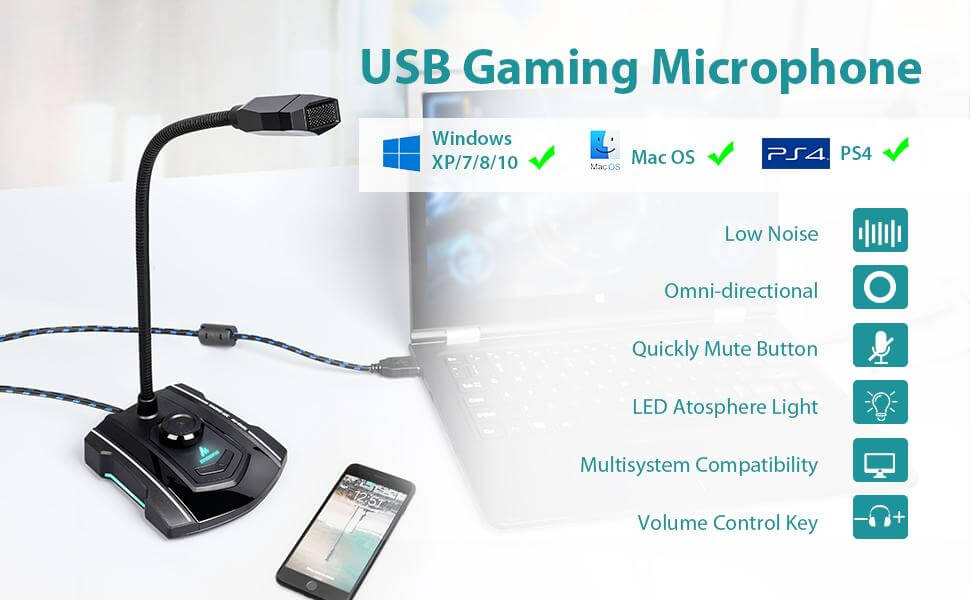 MAONO AU-GM31 Computer Microphone Condenser Mic for Gaming