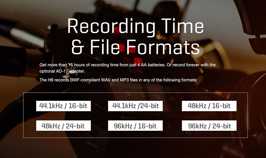 Zoom H8 Recording and file format
