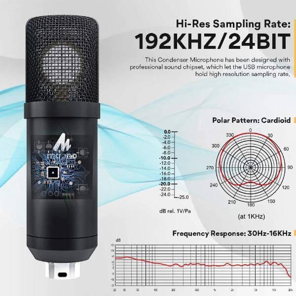 Maono AU A425 Professional Large Diaphragm Condenser USB Microphone SET 3