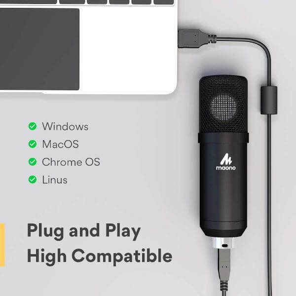 Maono AU A425 Professional Large Diaphragm Condenser USB Microphone SET 5