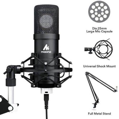 Maono AU A425 Professional Large Diaphragm Condenser USB Microphone SET 7