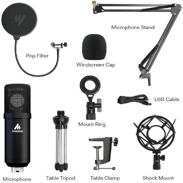 Maono AU A425 Professional Large Diaphragm Condenser USB Microphone SET 8