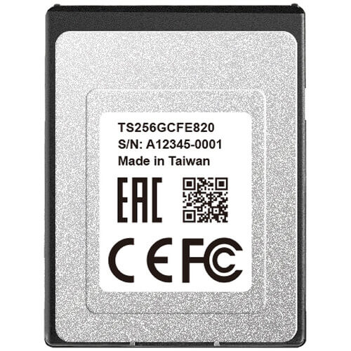 Transcend 256GB CFexpress 820 Type B Memory Card (R1700/W1000)
