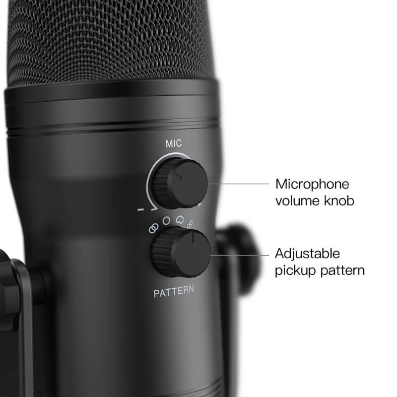 FIFINE K690 USB MIC WITH FOUR POLAR PATTERNS GAIN DIALS A LIVE MONITORING JACK A MUTE BUTTON 3