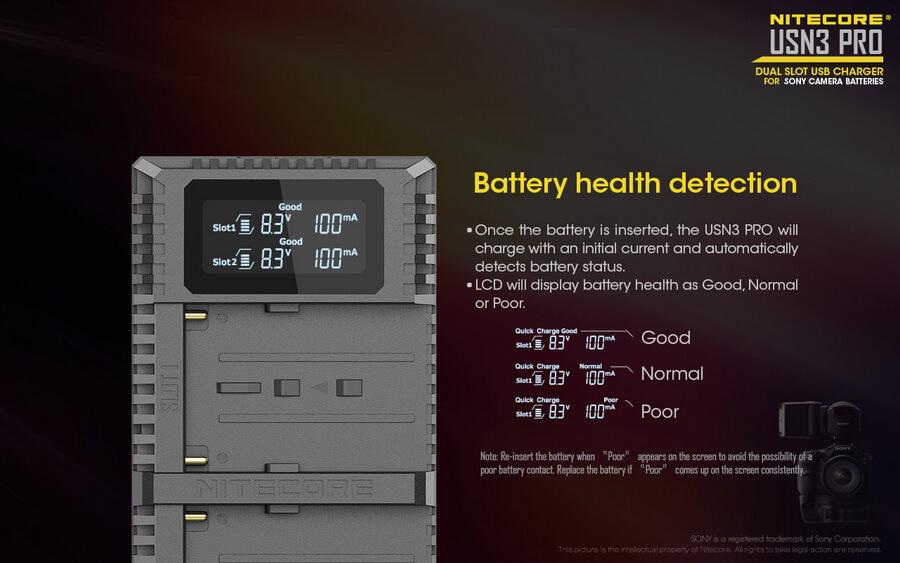 Nitecore USN3 Pro Sony dual-slot USB fast charger