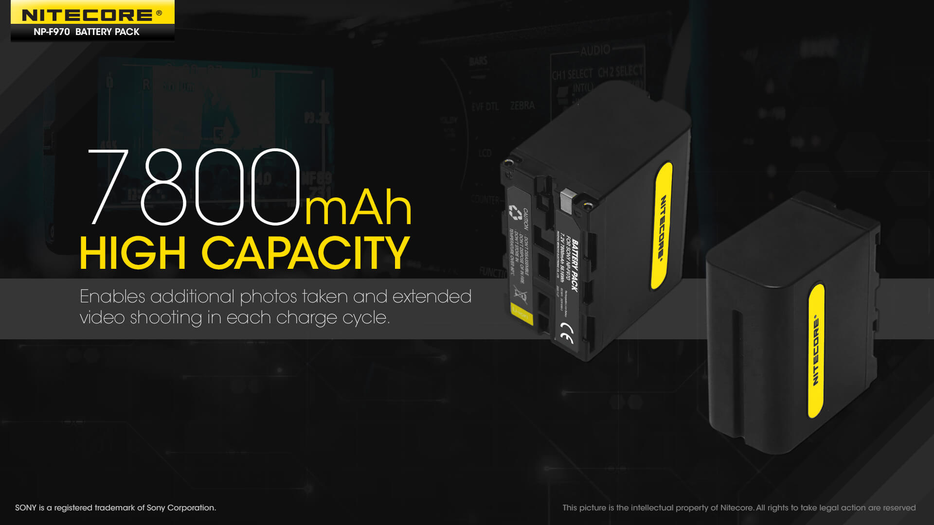 Nitecore Battery NP-F970 7,800mAh 7.2V for Sony Video Cameras