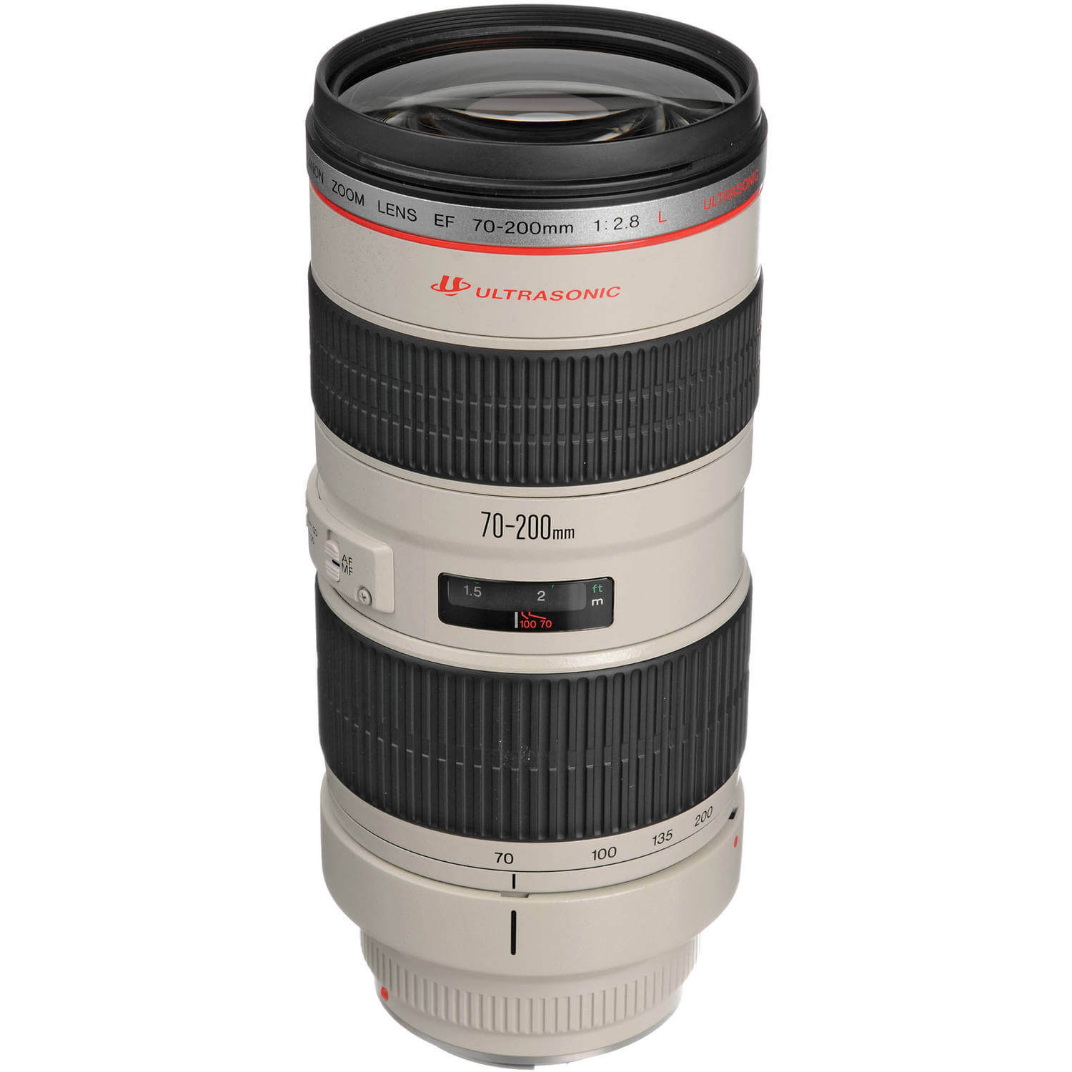 A truly versatile lens, the EF 70-200mm f/2.8L USM is a Canon L-series zoom spanning a flexible range of telephoto focal lengths. Beyond its portrait-length to medium tele range, this lens is also characterized by its bright f/2.8 constant maximum aperture, which affords notable control over depth of field and benefits working in challenging lighting conditions. Supporting the versatility is a sophisticated optical design, which utilizes four ultra-low dispersion elements to suppress color fringing and chromatic aberrations throughout the zoom range for high clarity. Also, a Super Spectra coating has been applied to help reduce lens flare and ghosting for greater contrast and color neutrality.  Complementing its optical assets, this 70-200mm f/2.8 also sports a ring-type USM and internal focusing mechanism for quick, quiet, and accurate autofocus performance, as well as full-time manual focus override. Additionally, a removable rotating tripod collar is included for stable use of the lens atop a tripod or monopod.  Versatile telephoto zoom is designed for full-frame Canon EF-mount DSLRs, however can also be used with APS-C models where it provides a 112-320mm equivalent focal length range. Bright constant f/2.8 maximum aperture affords consistent performance throughout the zoom range and offers notable control over depth of field for working with selective focus techniques. Four ultra-low dispersion glass elements reduce color fringing and chromatic aberrations for high clarity and color fidelity. Super Spectra coating has been applied to individual elements to minimize ghosting and flare for greater contrast and color neutrality when working in strong lighting conditions. A ring-type Ultrasonic Motor (USM), along with an internal focusing system, is employed to deliver fast, precise, and quiet autofocus performance as well as full-time manual focus override. Focus Limiter switch lets you constrain the focusing to two different ranges to suit different applications: