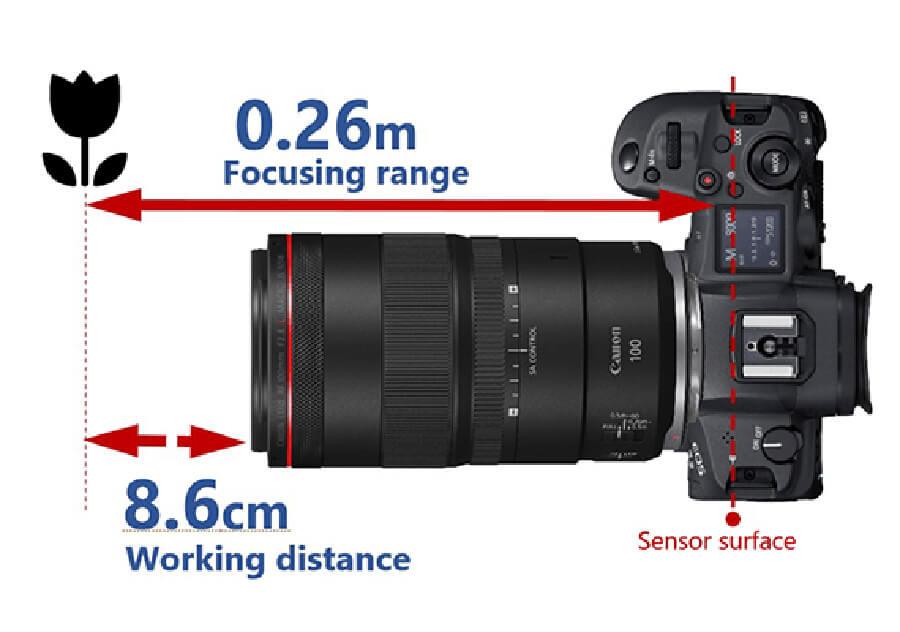 Canon RF 100mm F2.8 L Macro IS USM focal range
