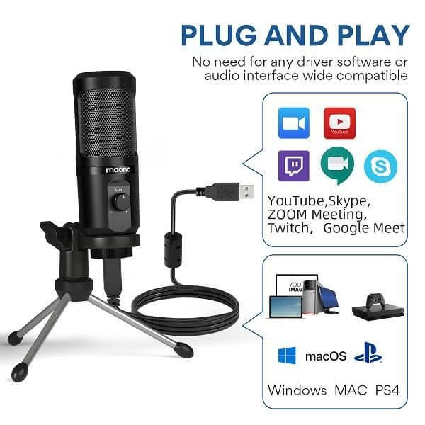 Maono ไมโครโฟน Au-Pm461Tr USB Gaming Microphone